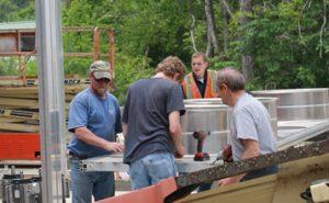 Staff constructing kilns