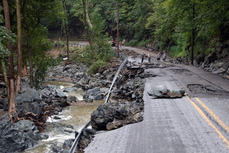 Washed out PA roads from 2018 flooding.
